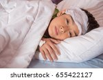 little boy had high fever with... | Shutterstock . vector #655422127