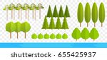 flat trees isolated on wide... | Shutterstock .eps vector #655425937