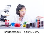 girl scientist in lab coat and... | Shutterstock . vector #655439197