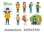 camping and hiking. journey and ... | Shutterstock .eps vector #655447333