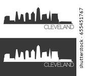 cleveland skyline silhouette... | Shutterstock .eps vector #655451767