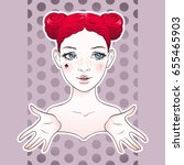 cartoon girl sticker design...   Shutterstock .eps vector #655465903