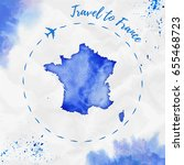 france watercolor map in blue... | Shutterstock .eps vector #655468723