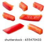 paprika. pepper slice isolated. ... | Shutterstock . vector #655470433