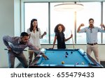 young men and woman playing... | Shutterstock . vector #655479433