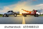 tow truck delivers the damaged... | Shutterstock . vector #655488313