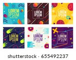 memphis style cards design... | Shutterstock .eps vector #655492237