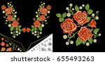 embroidery design. embroidered... | Shutterstock .eps vector #655493263