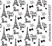 paris i love you. illustration... | Shutterstock .eps vector #655495237