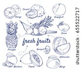 doodle set of fresh tropical... | Shutterstock .eps vector #655522717