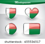 glossy madagascar flag icon set ... | Shutterstock .eps vector #655536517