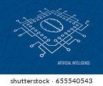computing cpu with brain symbol ... | Shutterstock .eps vector #655540543