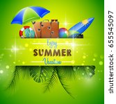 summer background with travel... | Shutterstock . vector #655545097