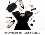 trendy fashion black styled... | Shutterstock . vector #655546813