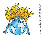 world planet with flames comic... | Shutterstock .eps vector #655558543
