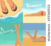 vector set with summer posters. ... | Shutterstock .eps vector #655560523