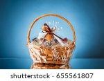 gift basket on blue background | Shutterstock . vector #655561807