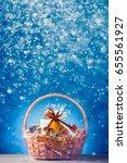 gift basket with festive... | Shutterstock . vector #655561927