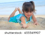 happy kids playing at the beach ... | Shutterstock . vector #655569907