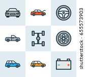 car colorful outline icons set. ... | Shutterstock .eps vector #655573903