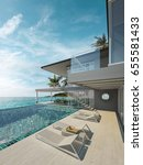 sea view swimming pool in... | Shutterstock . vector #655581433