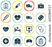 antibiotic icons set.... | Shutterstock .eps vector #655584517