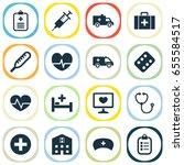 antibiotic icons set.... | Shutterstock .eps vector #655584517