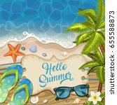 summer holidays in beach... | Shutterstock . vector #655588873