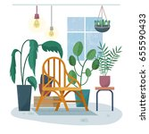 chair in room with plants.... | Shutterstock .eps vector #655590433