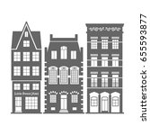set of 3 shape amsterdam ... | Shutterstock .eps vector #655593877
