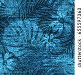 vector denim exotic leaf...   Shutterstock .eps vector #655597363