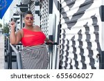 plus size woman in a red top... | Shutterstock . vector #655606027