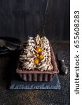 chocolate tart with meringue... | Shutterstock . vector #655608283