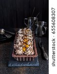 chocolate tart with meringue... | Shutterstock . vector #655608307
