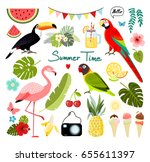 Stock vector summer tropical graphic elements parrot toucan and flamingo bird jungle floral illustrations 655611397