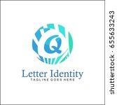 q letter logo. creative blue... | Shutterstock .eps vector #655633243