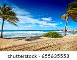 caribbean beach and tropical... | Shutterstock . vector #655635553
