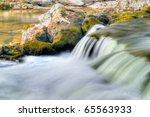 detail of rappids at sauble falls ontario canada - stock photo