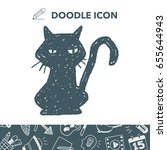 black cat doodle | Shutterstock .eps vector #655644943