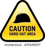 caution hard hat area sign | Shutterstock .eps vector #655648597