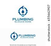 plumbing service logo designs... | Shutterstock .eps vector #655662907