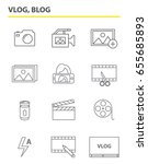 the set of outline vlog icons.... | Shutterstock .eps vector #655685893