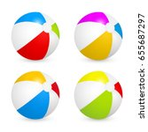 colorful beach balls set.... | Shutterstock .eps vector #655687297