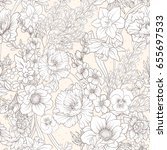 seamless pattern with poppy... | Shutterstock .eps vector #655697533