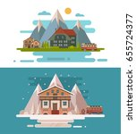 set of houses for the travelers ... | Shutterstock .eps vector #655724377