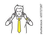 businessman put fingers ... | Shutterstock .eps vector #655727287