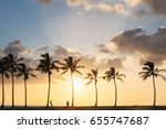 sunset palm beach with people's ... | Shutterstock . vector #655747687