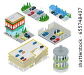 isometric car parking set. city ... | Shutterstock .eps vector #655748437