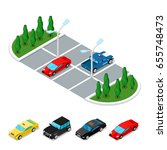 isometric car parking area.... | Shutterstock .eps vector #655748473