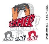 gamer vector logo set. cartoon... | Shutterstock .eps vector #655748803